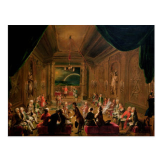 Initiation ceremony in a Viennese Masonic Postcard