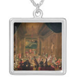 Initiation ceremony in a Viennese Masonic Square Pendant Necklace