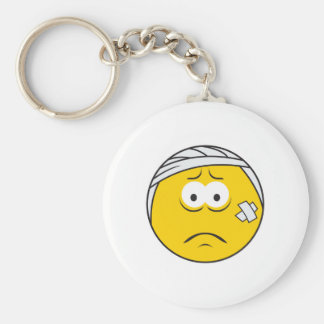 Injured Boo boo Smiley Face Basic Round Button Keychain
