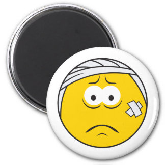 Injured Boo boo Smiley Face Refrigerator Magnets