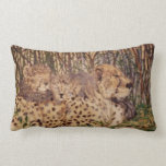 Ink and pastel cheetah and cubs artwork on a pillo throw pillow