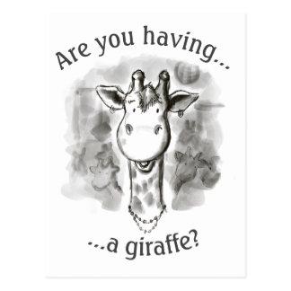 Ink And Wash Cockney Rhyming Slang Giraffe Postcard