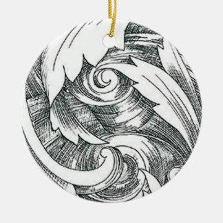 Ink Art Swirl Ornament