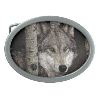 Ink Art Wolf Drawing on Belt Buckle