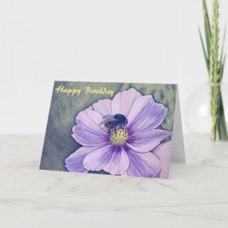 Ink artwork bumble bee birthday card