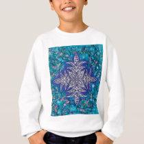 Ink Background with Embossed Mandala Print Sweatshirt