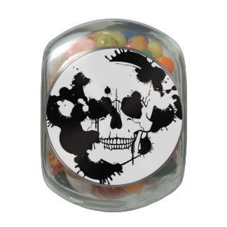 Ink Blots Creating A Skull Silhouette Jelly Belly Candy Jar