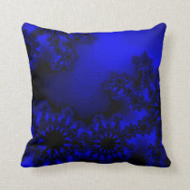 ink blue abstract retro throw pillow