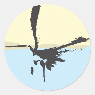 Ink Brush Heron Classic Round Sticker