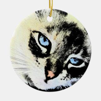 Ink Cat Round Ornament