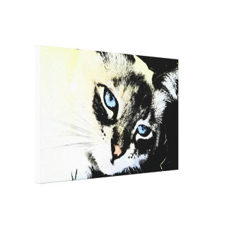 Ink Cat Wrapped Canvas Stretched Canvas Print