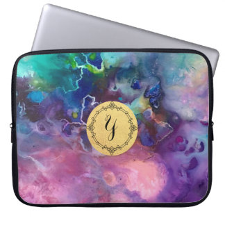 ink colorful purple gold texture pattern paint computer sleeve
