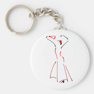 Ink Drawing of a Flamenco Dancer Basic Round Button Keychain