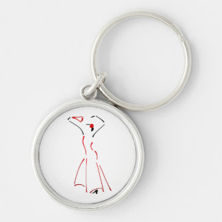Ink Drawing of a Flamenco Dancer - Premium Silver-Colored Round Keychain