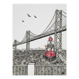 Ink Drawing of the Bay Bridge in San Francisco Poster