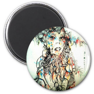 ink drawing serious watercolor portrait art magnet