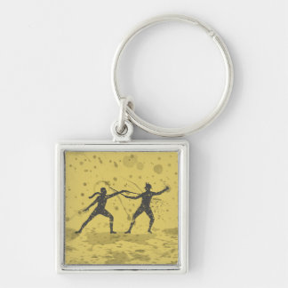 Ink Fencers Silver-Colored Square Keychain