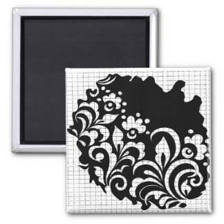 ink flowers 2 inch square magnet