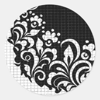 ink flowers classic round sticker