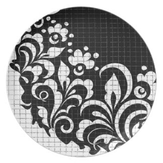 ink flowers dinner plates