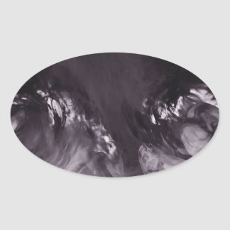 Ink in Water Abstract Photograph Oval Sticker