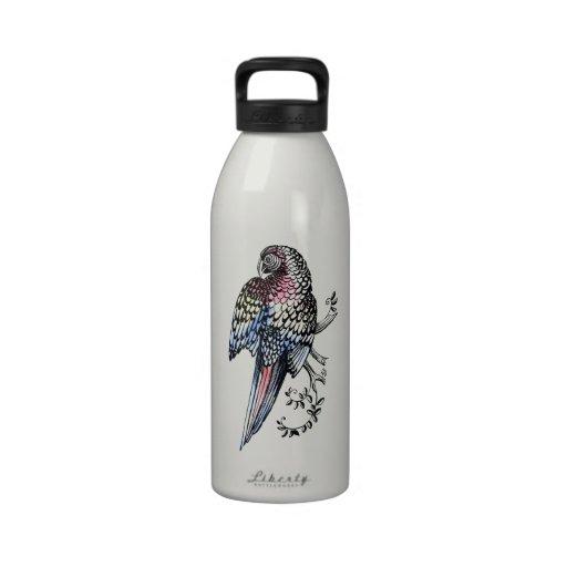 Ink macaw Parrot Reusable Water Bottles