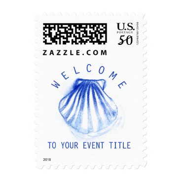 Professional Business Ink Painted Blue Seashell on White Custom Postage