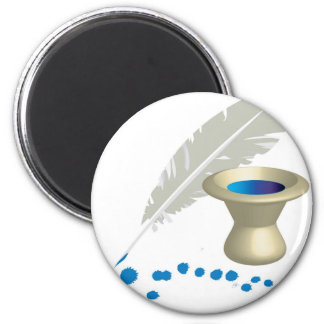 Ink pot with feather and ink splashes 2 inch round magnet