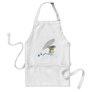 Ink pot with feather and ink splashes adult apron