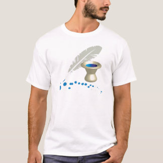 Ink pot with feather and ink splashes T-Shirt
