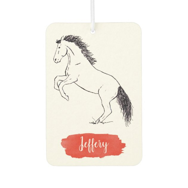 Ink Rearing Horse Drawing Red Watercolor Air Freshener Zazzle Com