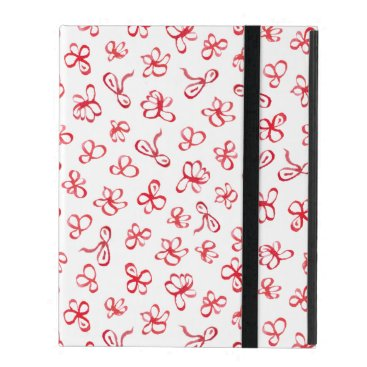 Ink Red Flowers iPad 2/3/4 Case with No Kickstand