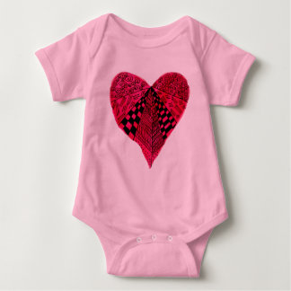 Ink Red Heart art design Baby Bodysuit