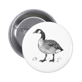 Ink Sketch Goose Design Button