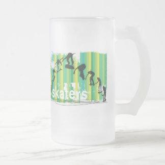 Ink Sketch of Skateboarder Progressive Jump Frosted Glass Beer Mug