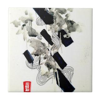 Ink splatter black and white chic modern abstract tile