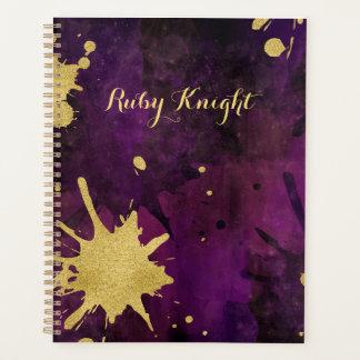 Ink Splatter Gold Eggplant Purple Planner