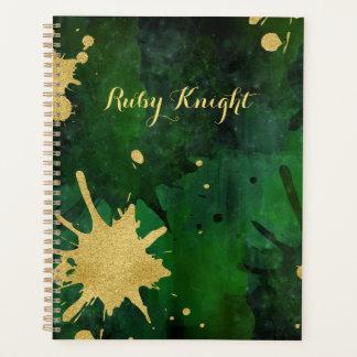 Ink Splatter Gold  Green Planner