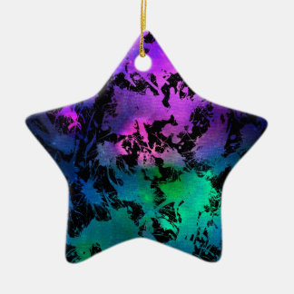 Ink Splatter Purple Turquoise Ceramic Ornament