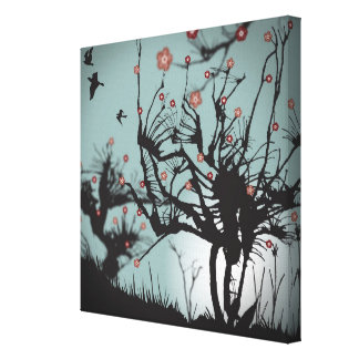 Ink Splattered Trees Gallery Wrap Canvas