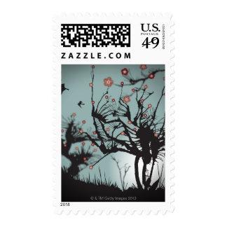 Ink Splattered Trees Stamp