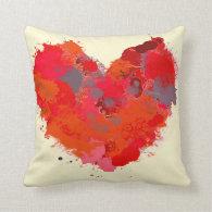 Ink Splotch Heart Throw Pillows