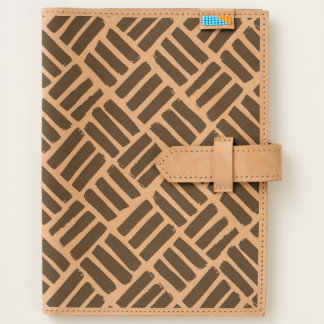 Ink Strokes Basketweave Grid Etched Leather Folio Journal