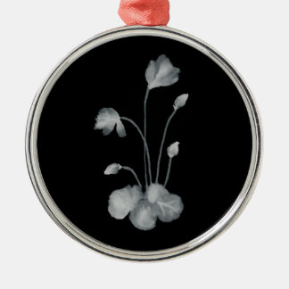 Ink to flower negative metal ornament