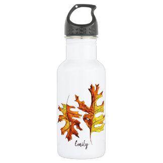 Ink Watercolor Painted Dancing Autumn Leaves Name Stainless Steel Water Bottle