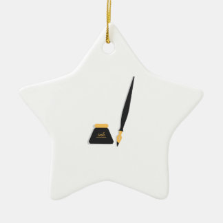 Ink Well & Pen Double-Sided Star Ceramic Christmas Ornament