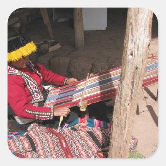 Ïnka Woman at Backstrap Loom Square Sticker
