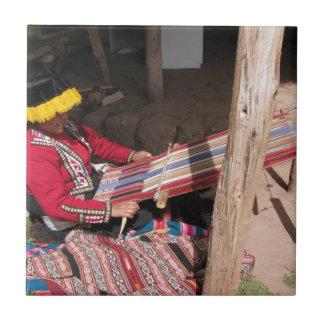 Ïnka Woman at Backstrap Loom Tile