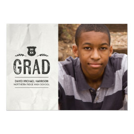 Inked | Photo Graduation Party 5x7 Paper Invitation Card by dulceevents at Zazzle