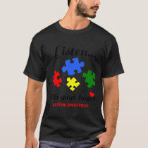 Inktastic Autism Awareness Youth Puzzle Pieces Tee